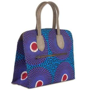 West Africa Patterned Cotton Handbag by Ghana Artisan, 'Royal Violet'
