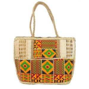 Cotton and Natural Fiber Accent Shoulder Bag from Ghana, 'Market Style'