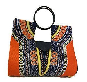 Orange Hard Body African Dashiki Handbag