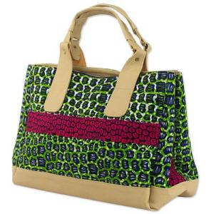 Handmade Cotton Handbag with Synthetic Leather Accent