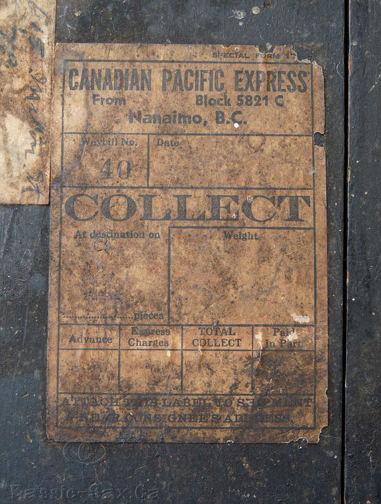 Canadian Pacific Express, railroad shipping label, early 20th century, Nanaimo, BC, Canada