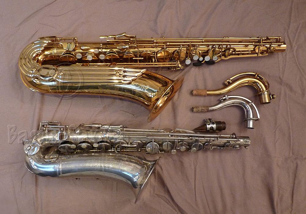 Adolphe Edouard, C-pitched, tenor saxophone, Julius Keilwerth, Toneking Bb tenor, gold, silver, beige, sheet, sax necks, sax mouthpiece