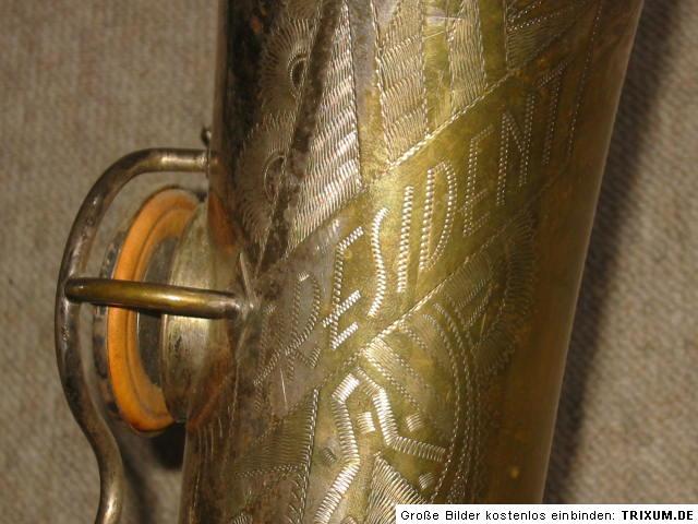 saxophone, Max Keilwerth, President tenor saxophone, vintage, German, Pure Tone Trade Mark, bell engraving