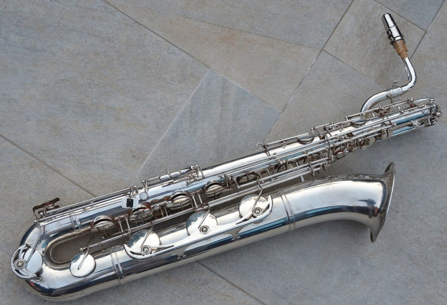 baritone saxophone, low A bari, Weltklang baritone saxophones, silver plated, vintage, East German