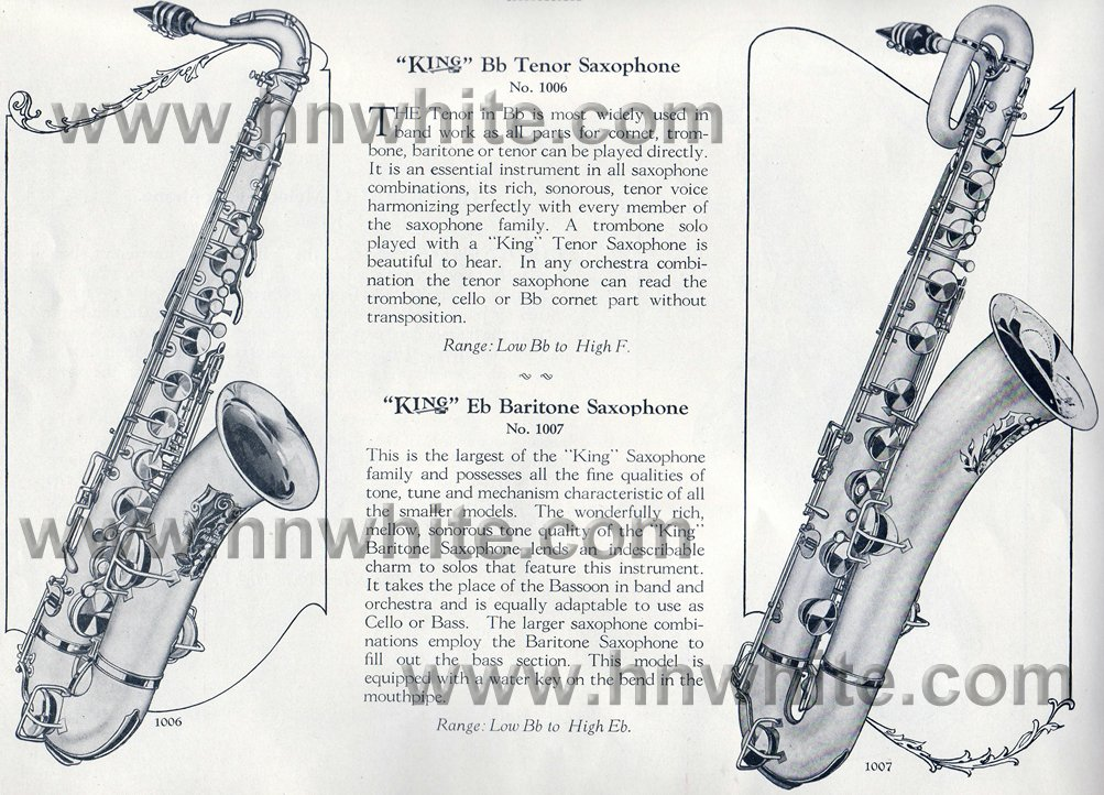 H.N. White vintage catalogue page, King tenor saxophone, King baritone saxophone, 1924