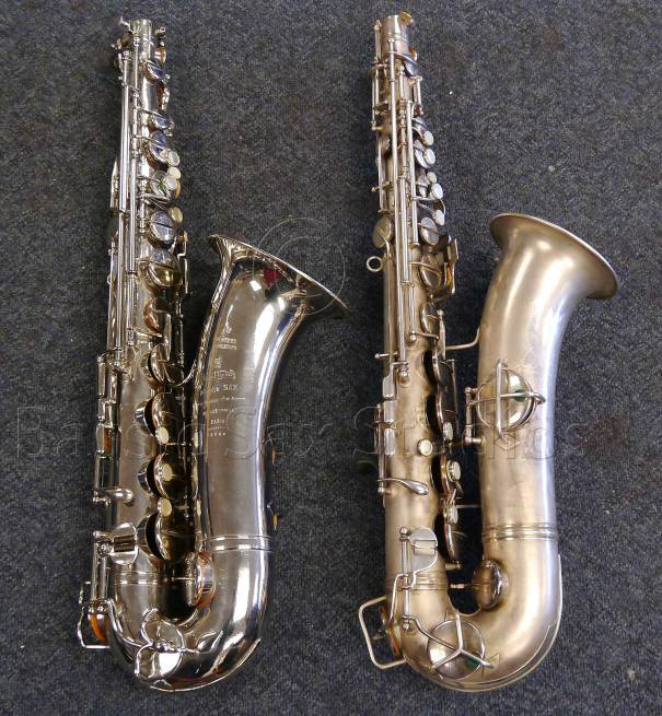 Left: A.E. C-pitched tenor # 150XX Right: Conn 8M # 193XXX