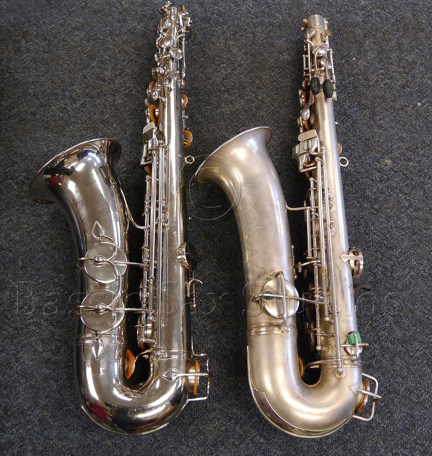 Left: A.E. C-pitched tenor # 150XX Right: Conn 8M # 193XXX