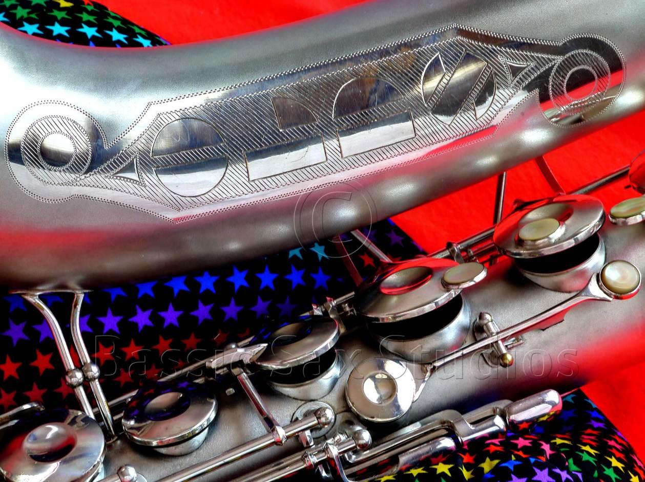bell stamping, Olds Super tenor saxophone, silver sax, saxophone keys, vintage saxophone