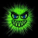 virus, cartoon virus, green fuzzy virus with face, flu season