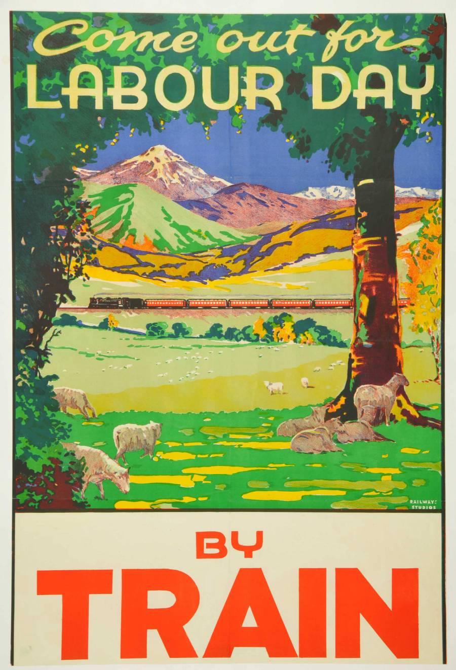 vintage poster, New Zealand, Labour Day, steam locomotive,