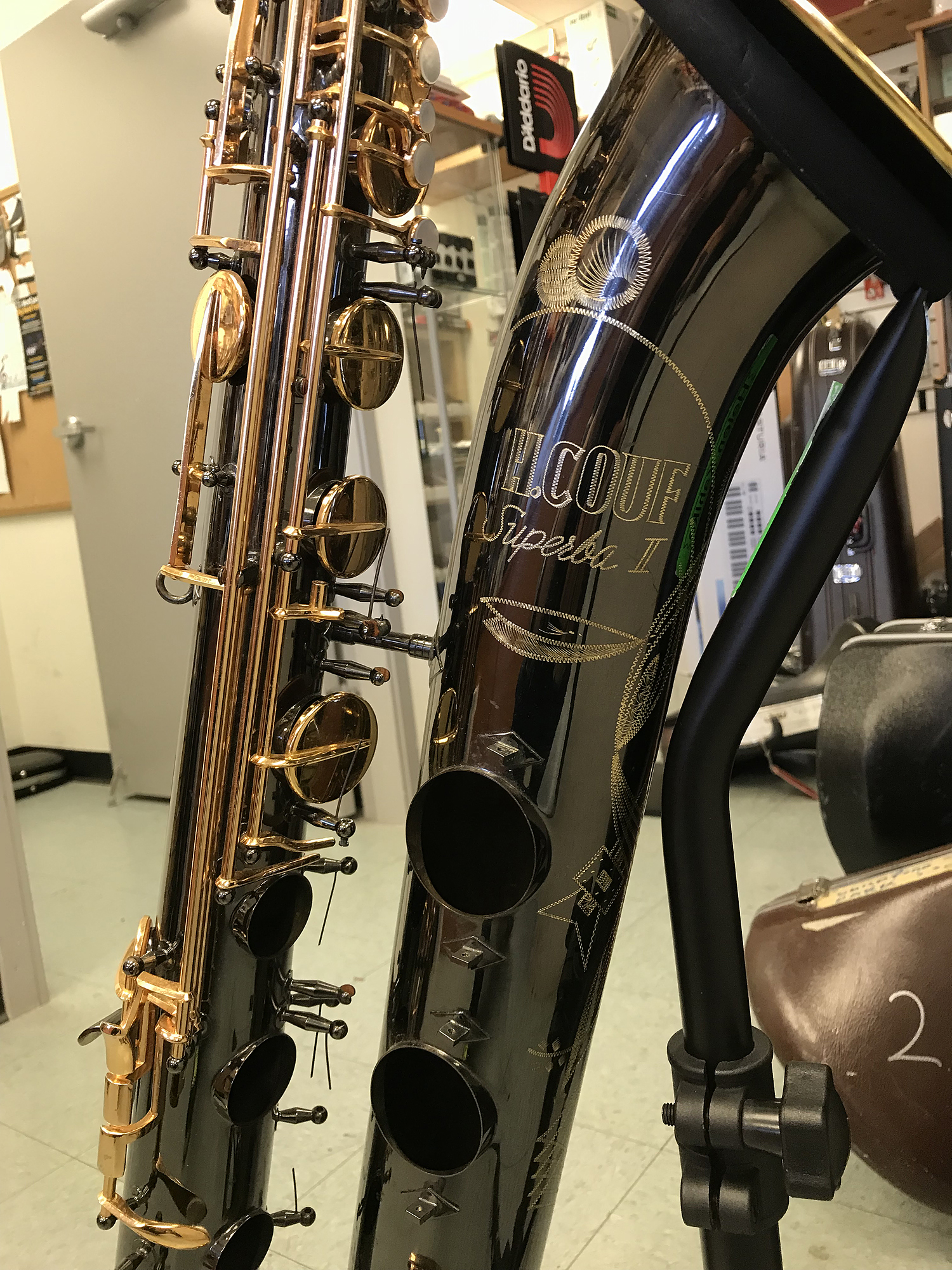 Black Gold Couf Superba II baritone sax, bari sax, H. Couf sax, bell engraving, black nickel plated sax, gold plated keys, vintage German sax