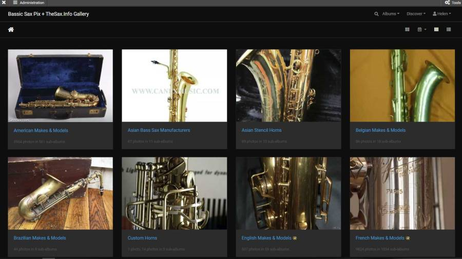 screen shot, Bassic Sax Pix & The Sax.info Gallery, saxophone gallery