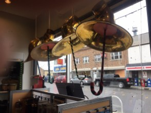 tuba bells, window display, Bellingham Wind Works