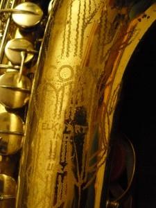 bell engraving, Conn 10 M, tenor saxophone