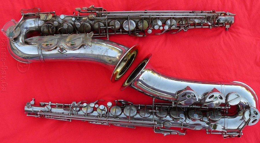 two tenor saxophones, Hammerschmidt, Klingsor, German, vintage
