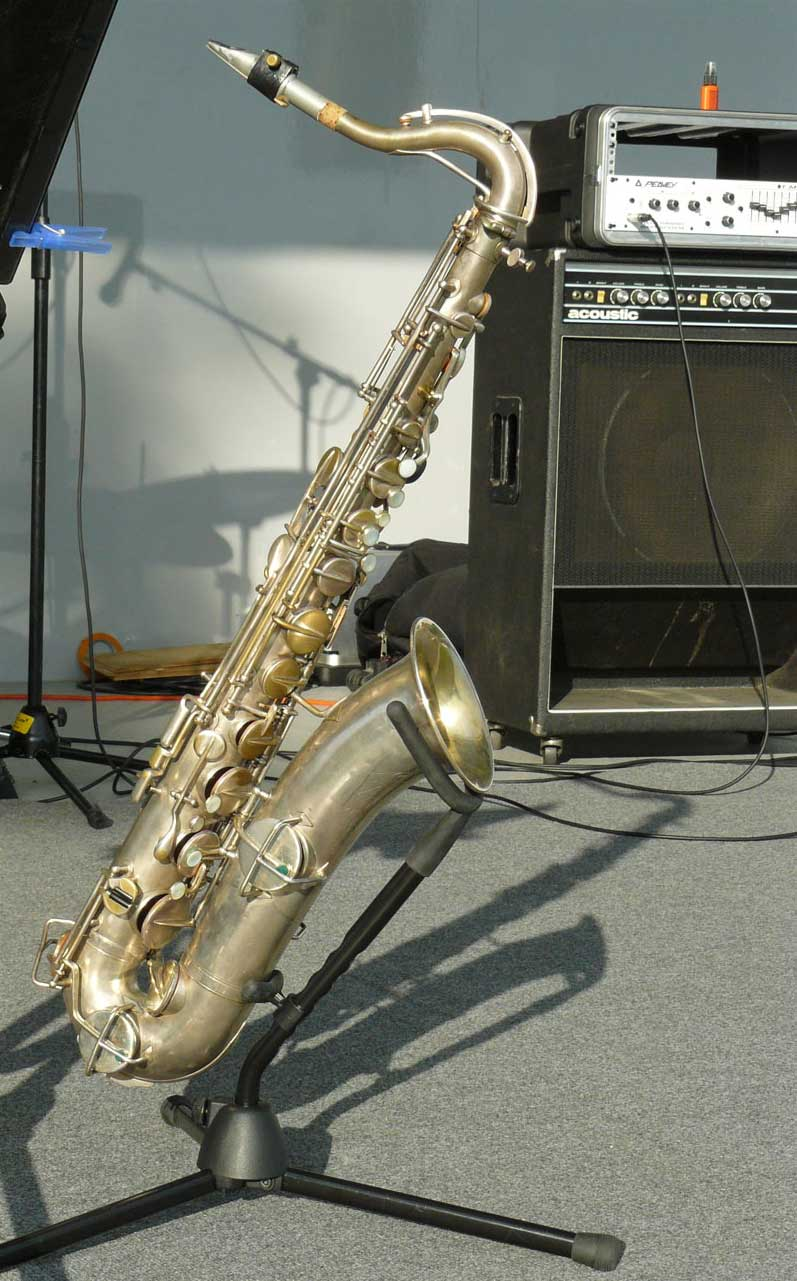 tenor saxophone, amplifier, festival stage, Martin Handcraft tenor sax,