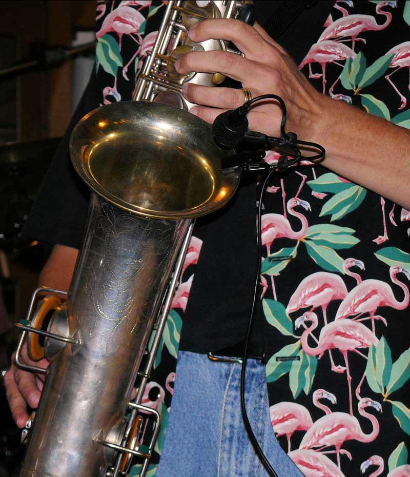 saxophone player, sax bell, clip-on  microphone, Martin Handcraft tenor, flamingo vest