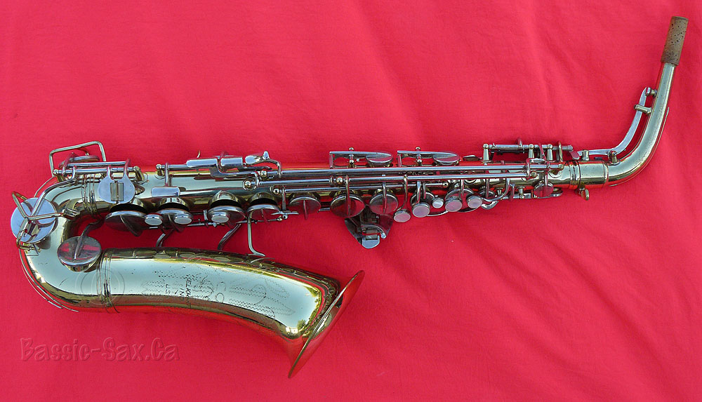 Conn 6M, alto saxophone, red cloth, gold lacquer sax, nickel plated keys