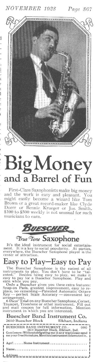 Circa 1920s Buescher Tom Brown Ad