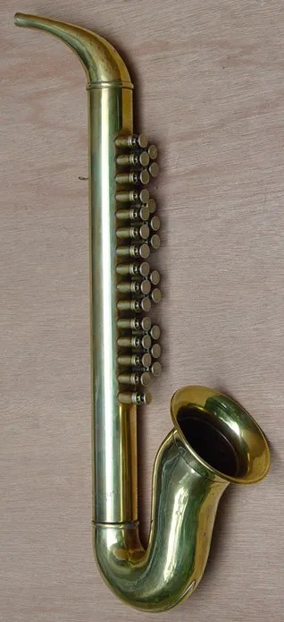Couesnophone, brass, saxophone-shaped, free reed instrument, 2 colums of push buttons