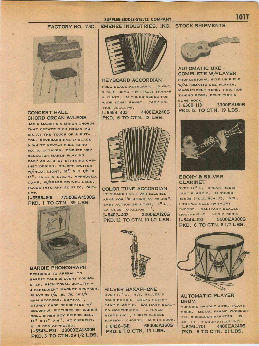 1961 Emenee Silver Sax Print Ad
