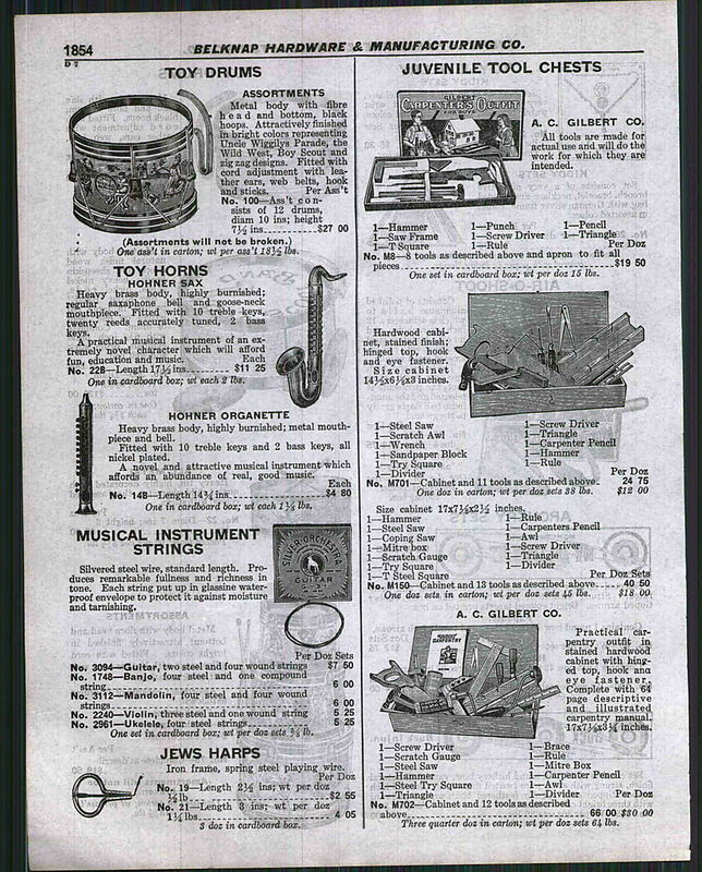 vintage catalogue, 1929 Belknap Hardware & Manufacturing Co, Lousville, Kentucky, Hohner Organette, The Hohner Sax, other musical toys and tool chests