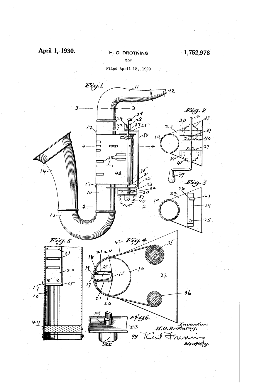 Q.R.S. Playasax, patent drawing, player saxophone