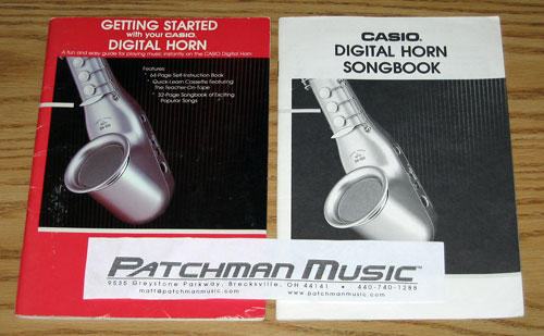 Casio DH-100, Digital Horn, saxophone-shaped, getting started book, song book, wind controller, wind synthesizer
