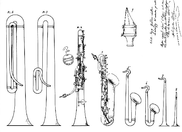 Adolphe Sax Horns From Patent Drawing