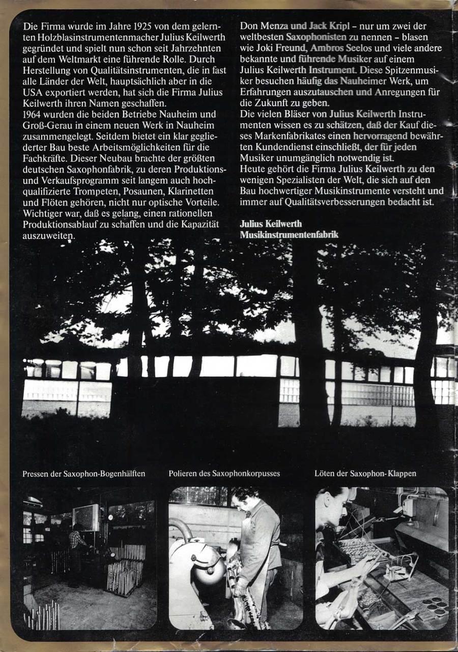 Julius Keilwerth, saxophones, German, vintage, brochure, page 1, 1979, b&W photgraphy
