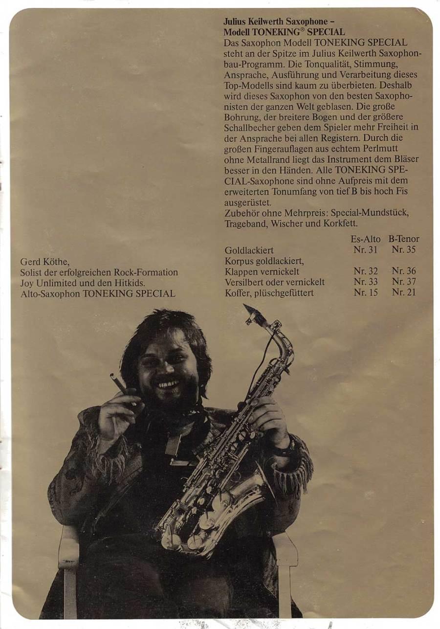 Julius Keilwerth, vintage, brochure, 1979, page 10, black, gold, alto saxophone