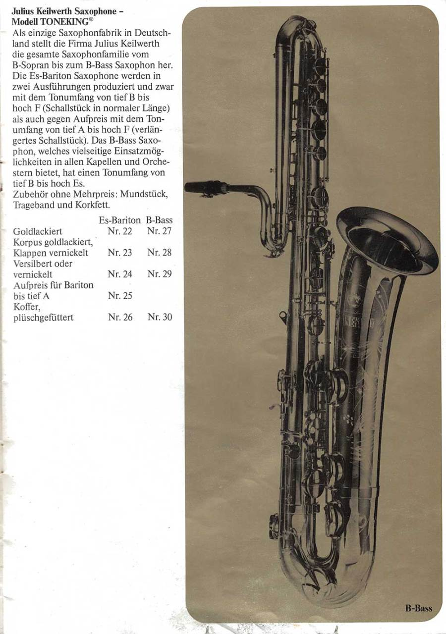 Julius Keilwerth, vintage, brochure, 1979, page 8,  bass, saxophone, black, gold