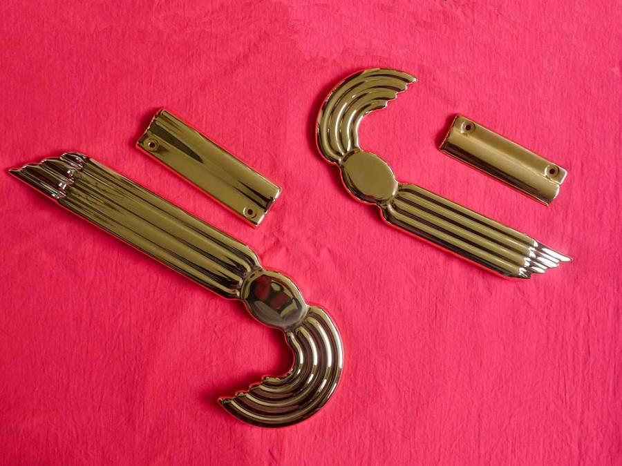 Julius Keilwerth, replacement key guards, metal, angel wings, gold, red, vintage, German, saxophone