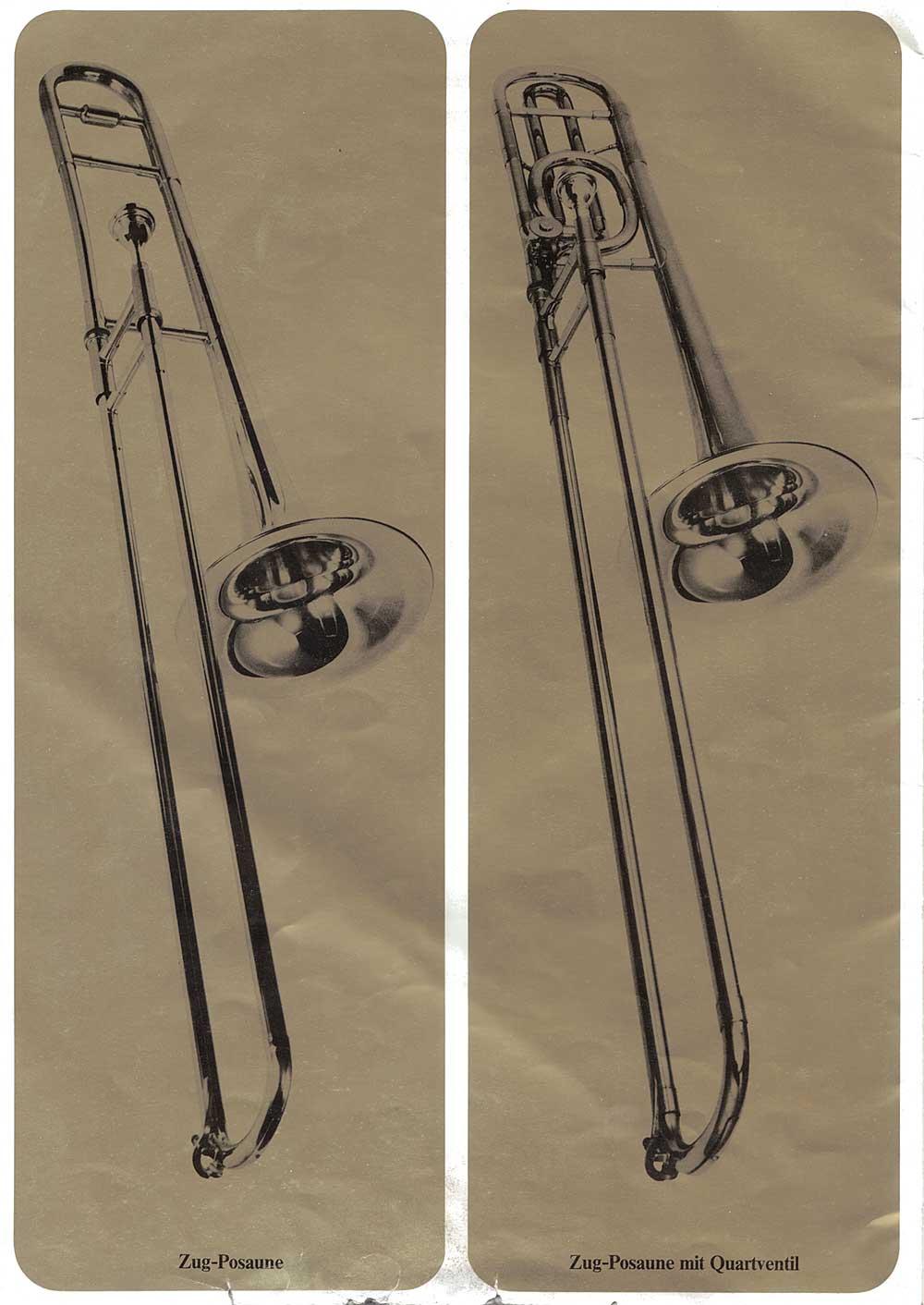 Julius Keilwerth, vintage catalogue, 1979, page 19, black, gold, trombones
