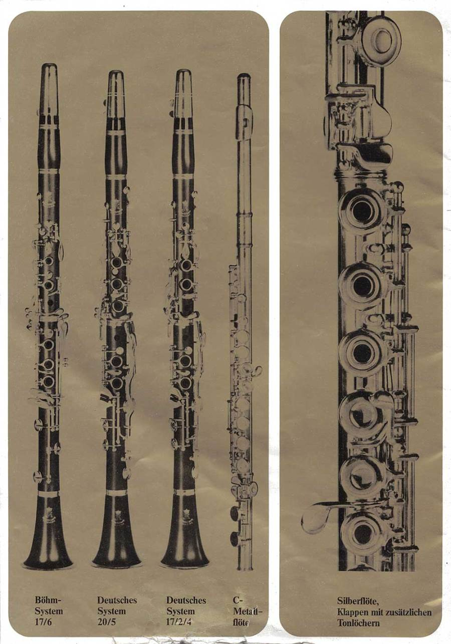 Julius Keilwerth, vintage catalogue, 1979, page 21, black, gold, clarinets, flutes