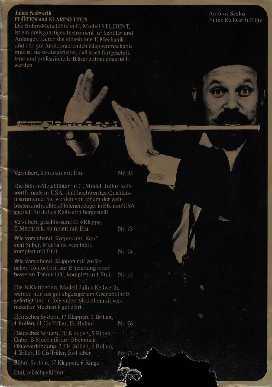 Julius Keilwerth, vintage catalogue, 1979, page 22, black, gold, flute player