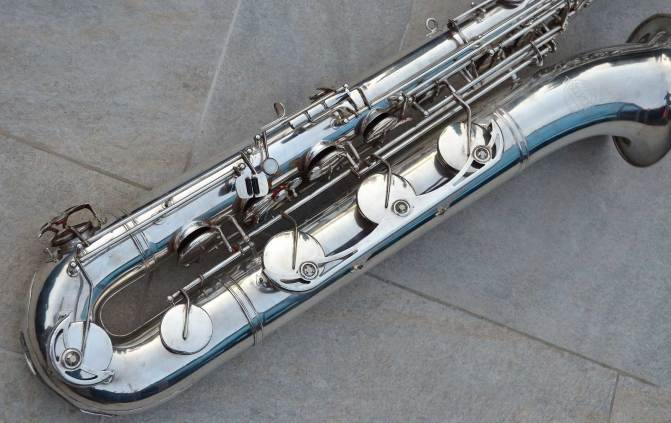 low A baritone sax, German, DDR, vintage, silver plated