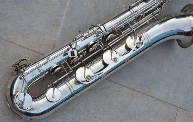 low A baritone sax, German, DDR, vintage, silver plated
