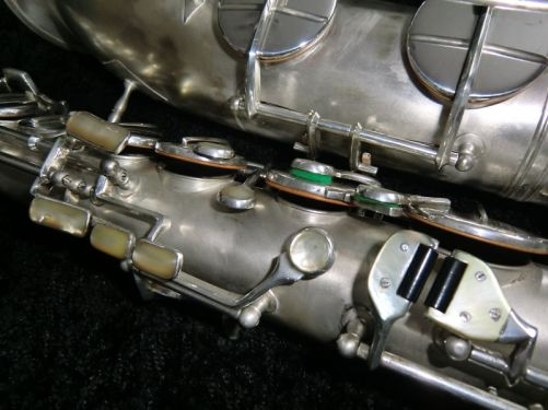tenor saxophone, sax keys, mother of pearl key touches, silver plated, vintage saxophone, Weltklang