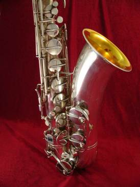 tenor saxophone, silver plated, gold wash bell, vintage, German, Weltklang