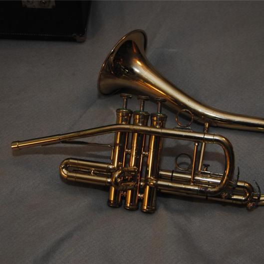 "DEG ""Classic"" sax-shaped trumpet, 1980s, Getzen,"