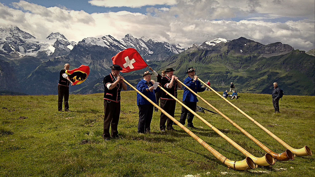 alphorn, alphorns, Swiss flag, Swiss Alps,