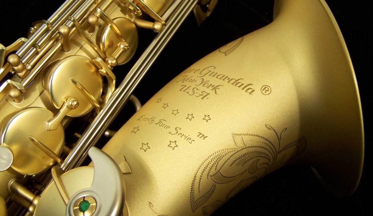 Dave Guardala Model, Earth Tone Series, tenor sax bell engraving, tenor saxophone, B&S, saxophone keys