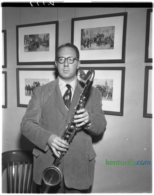 H. Couf, Herb Couf, man with bass clarinet, B&W photo vintage photo
