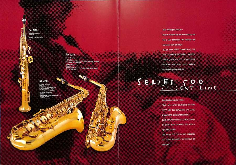B&S saxophones, VMI, color brochure, Series 500 saxophones, alto sax, tenor sax, soprano sax, German saxophones,