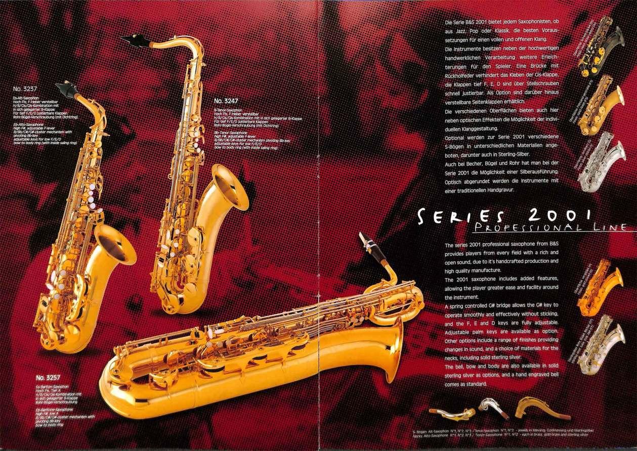 B&S saxophones, VMI, color brochure, Series 2001 saxophones, alto sax, tenor sax, bari sax, German saxophones,