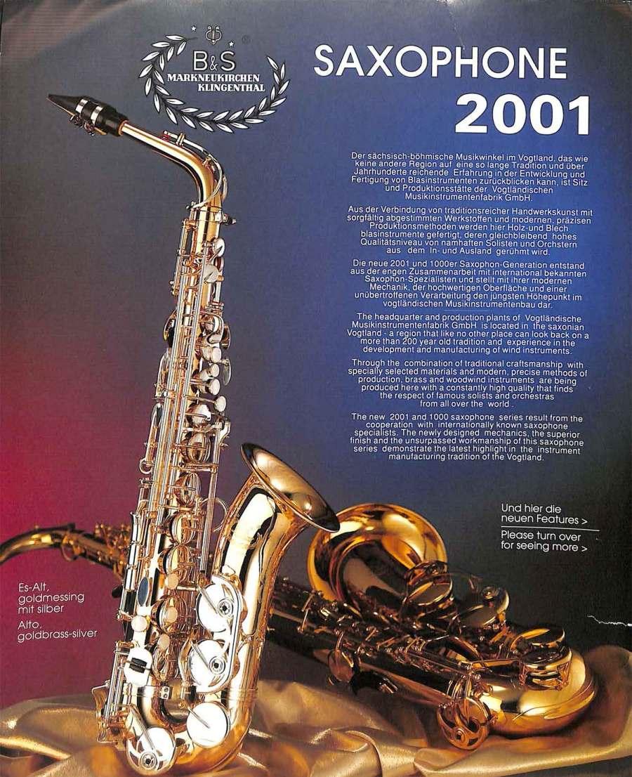B&S saxophone, Series 2001, German saxophone, color brochure, alto sax