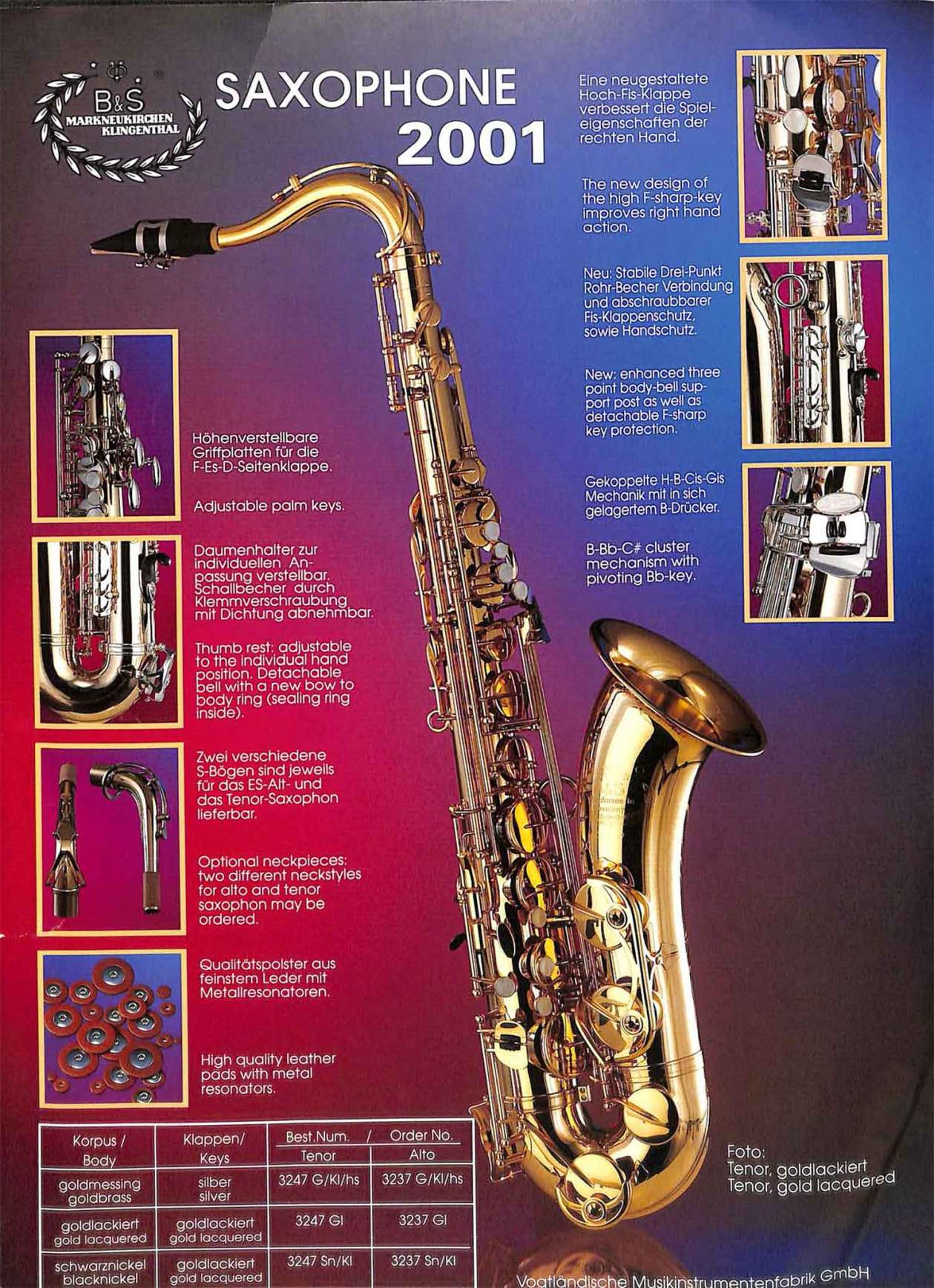 B&S saxophone, Series 2001, German saxophone, color brochure, tenor sax