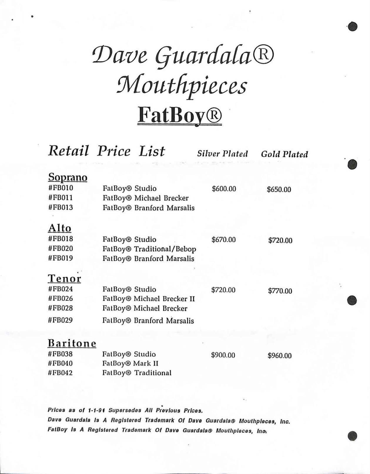 Dave Guardala, FatBoy, mouthpiece, brochure, price list, saxophone