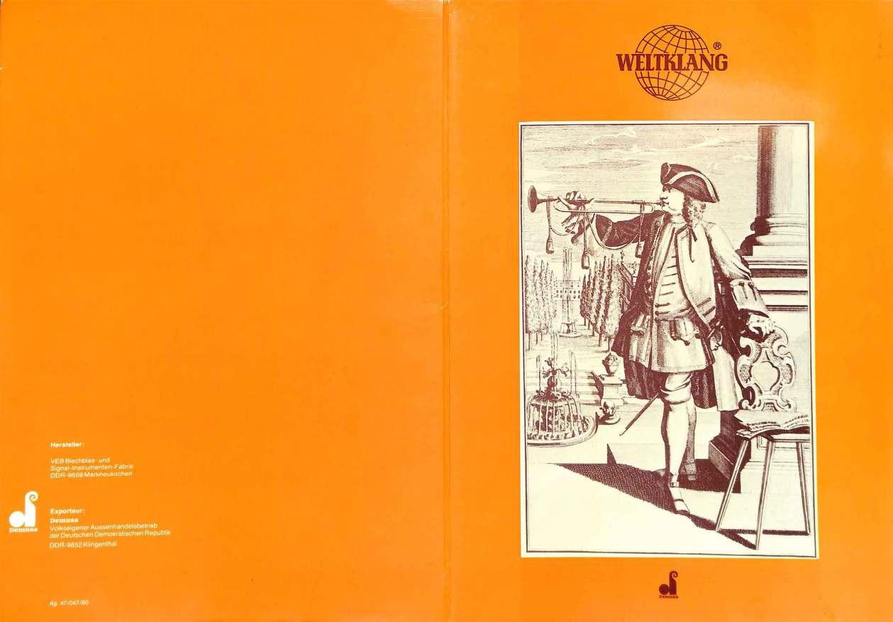 Weltklang, vintage colour print literature, VEB Blechblas- und Signal-Instrumenten-Fabrik (B&S), GDR, DDR, German musical instruments